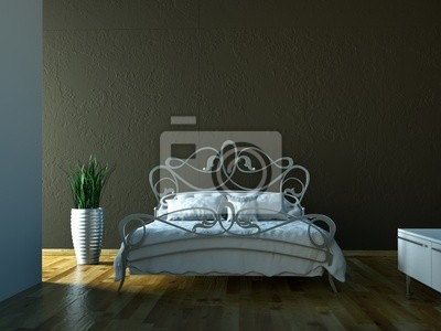 Sticker Bedrooms - bed in front of brown wall