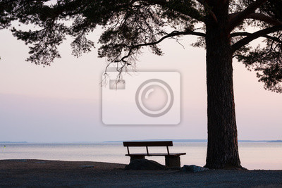 Sticker Bench and tree silhouette viewing to serene lake