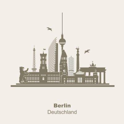Sticker Berlin Silhouette Logo Umriss Schattenriss Fernseturm Funkturm Berliner Bär, sightseeing tour, Brandenburger Tor Rotes Rathaus Potzdamer Platz Siegessäule Gedächtniskirche Reichstag