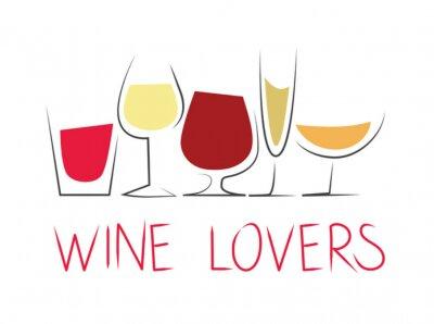 Sticker Bicchieri di vino differenti con dicitura
