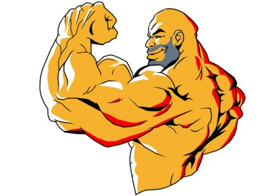 Sticker big biceps, illustration,color,logo,isolated on a white