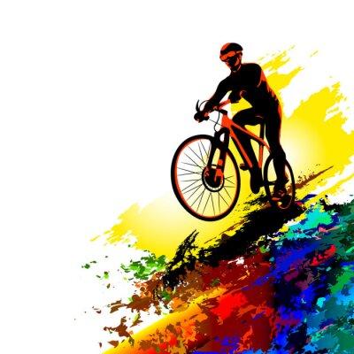 Sticker Biker sport. Vector illustration