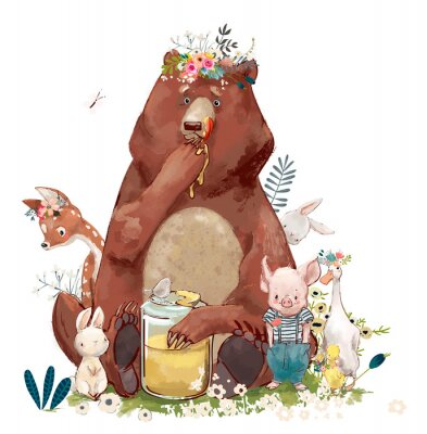Sticker birthday cute animals - bear and other