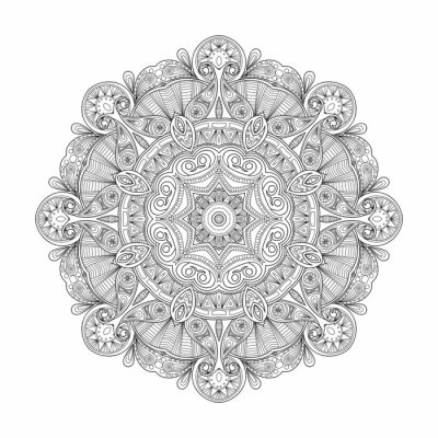 Sticker Black and white abstract circular ethnic pattern mandala.