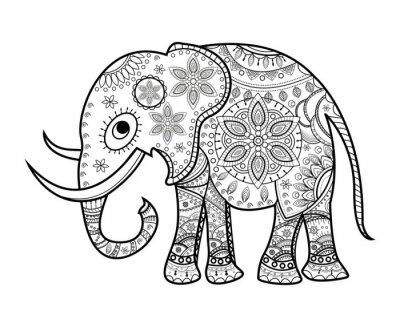 Sticker Black and white decorated elephant on white, elefante decorato vettoriale da colorare, su sfondo bianco