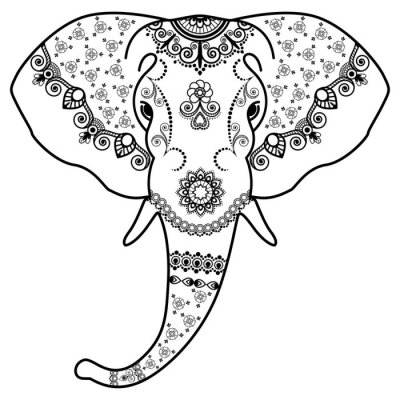 Sticker Black and white elephant's head in Mehndi Indian style.Vector illustration isolated on white background