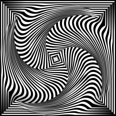 Sticker Black and White Opt Art Background