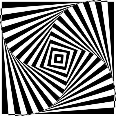 Sticker Black and White Optical Illusion Vector Illustration.
