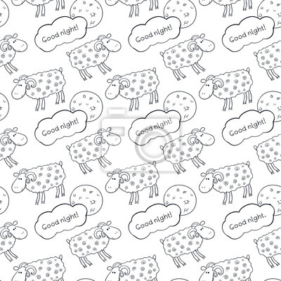 Sticker Black and white seamless vector pattern with images cute sheep