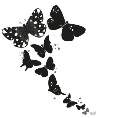 Sticker Black butterfly design and abstract decorative flowers vector background