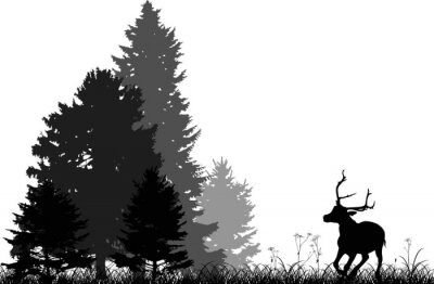 Sticker black deer running to fir forest isolated on white