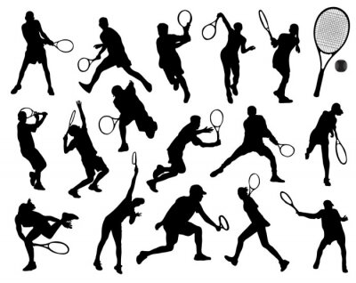 Sticker Black silhouettes  of tennis player, vector