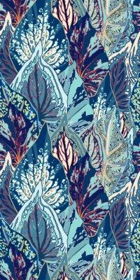 Sticker Blue Leaf Vector Seamless Illustration