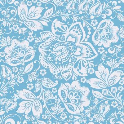 Sticker Blue Ornamental Flowers Seamless Pattern