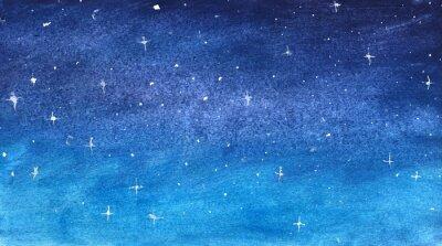 Sticker Blue starry sky in watercolor