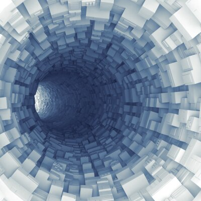 Sticker Blue tunnel with technological extruded segments