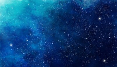 Sticker Blue watercolor space background. Illustration painting