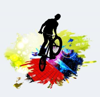 Sticker BMX jumper during trick jump