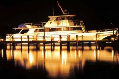 Sticker Boat at Night / Boat and reflection at Jupiter, Florida