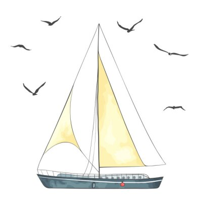 Sticker Boat with sails and seagulls made in the vector