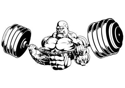 Sticker Bodybuilder flex heavy barbell,illustration,logo,ink,black and white,outline,isolated on a white