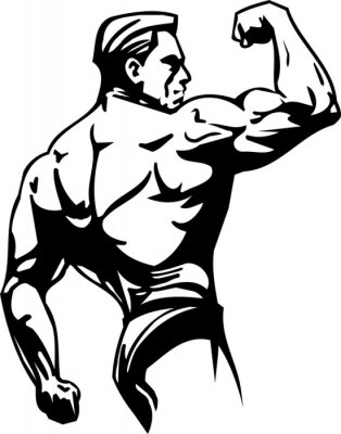 Sticker Bodybuilding and Powerlifting - vector illustration.