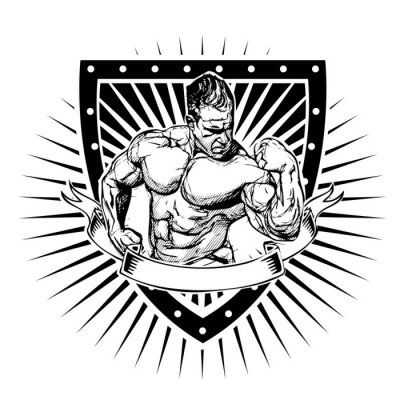 Sticker bodybuilding shield