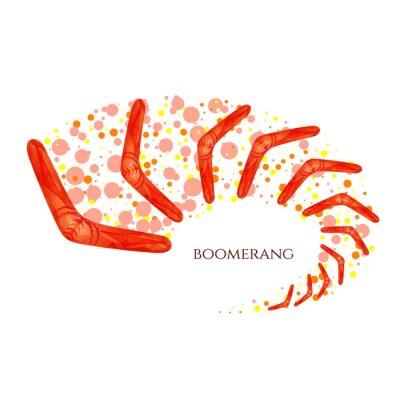 Sticker Boomerang in movement. Imitation of watercolor. Boomerang as a symbol of Australia. Isolated vector illustration.