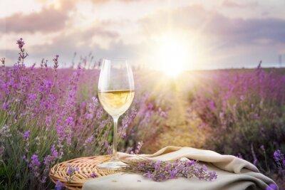 Sticker Bottle of wine against lavender.