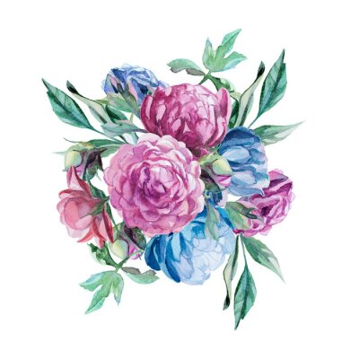 Sticker bouquet of peonies isolate on white background