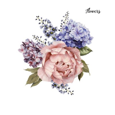 Sticker Bouquet of roses, watercolor, can be used as greeting card, invitation card for wedding, birthday and other holiday and  summer background.