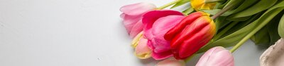 Sticker Bouquet of spring tulips closeup on a light blue background, border design panoramic banner