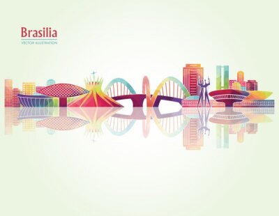 Sticker Brasilia detailed skylines. vector illustration