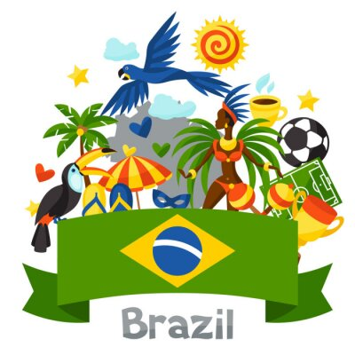 Sticker Brazil background with stylized objects and cultural symbols