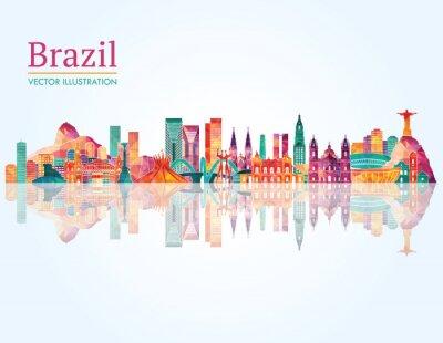 Sticker Brazil Landmark skyline. Vector illustration
