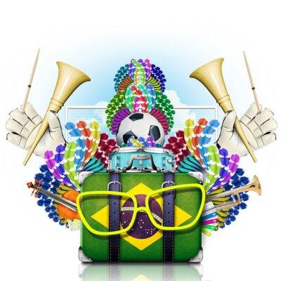 Sticker Brazil, the world football championship, festival and a carnival