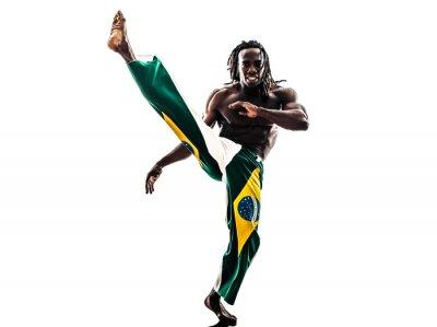 Sticker Brazilian  black man dancer dancing capoeira  silhouette
