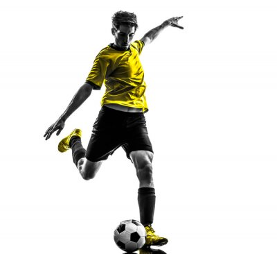 Sticker brazilian soccer football player young man kicking silhouette