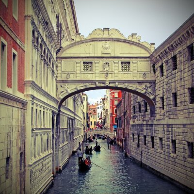 Sticker Bridge of sighs in Venice with gondolas