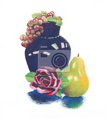 Sticker bright colorful oil pastel still life of dark blue vase and purple grapes with pink red rose and green yellow pear fruit composition, hand drawn illustration clip art is isolated on white background