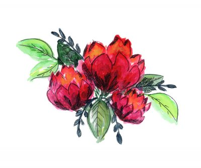 Sticker Bright watercolor red and green floral bouquet. Color painting composition with ink pen outline pink roses or peonies flowers and fresh leaves for invitation, wedding, greeting cards design, sticker