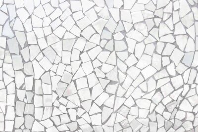 Sticker Broken tiles mosaic seamless pattern. White and Grey the tile wall high resolution real photo or brick seamless and texture interior background.
