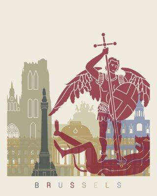 Sticker Brussels skyline poster
