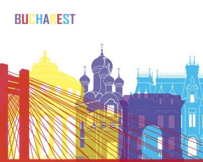 Sticker Bucharest skyline pop