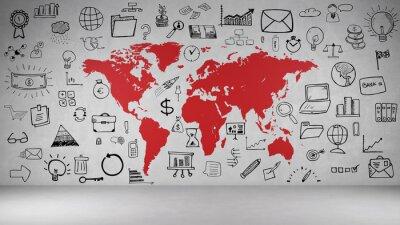Sticker Business Symbole an Wand mit Weltkarte