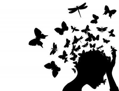 Butterflies from a head