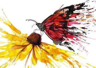 Sticker Butterfly on the flower