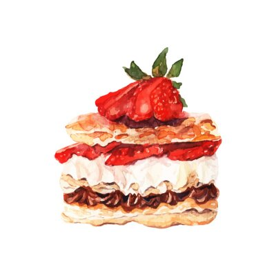 Sticker Cake with berries drawn watercolor. Design for banners and cards.