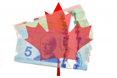 Sticker Canadian maple leaf with dollars on white background