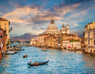 Sticker Canal Grande with Santa Maria Della Salute at sunset, Venice, Italy
